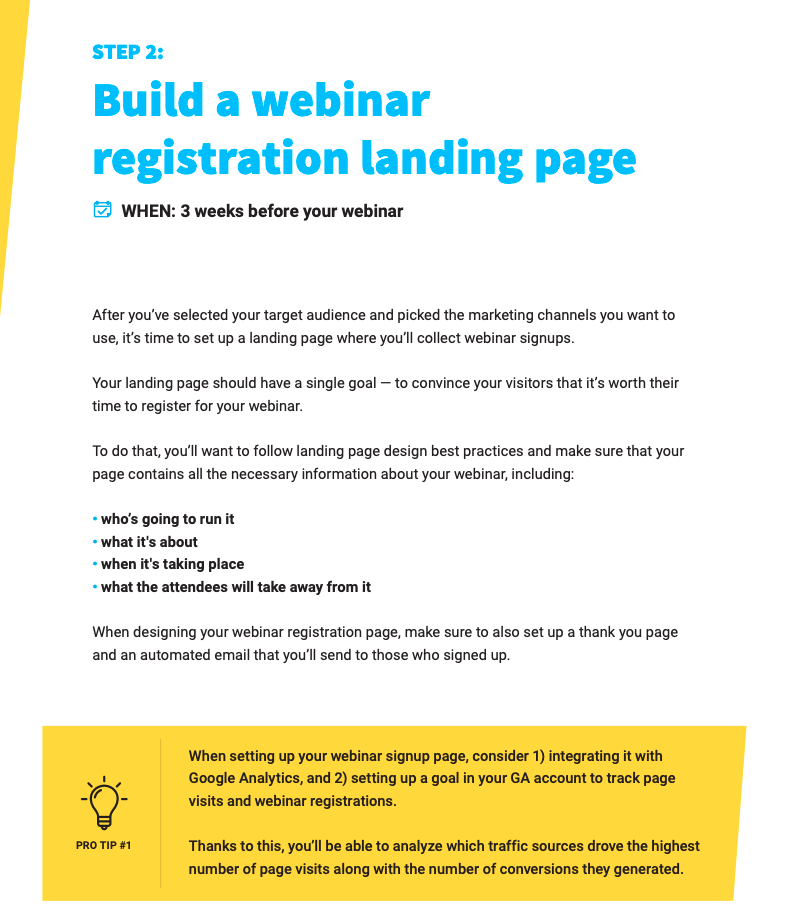 Doesn't the visual hierarchy make it easier to focus on the main parts of the page? Example from How to Promote Your Webinars in 9 Easy Steps.