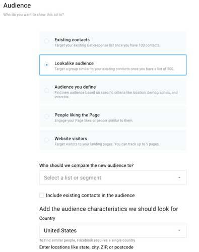 Настойки похожая аудитория для рекламы на Фейсбук в платформе ГетРеспонс