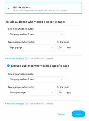 выбираем в настройках ГетРеспонс посетителей сайта для запуска рекламы на Фейсбук