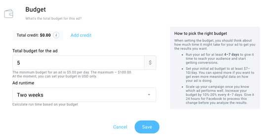 выбираем бюджет и сроки рекламы в Фейсбук на платформе ГетРеспонс