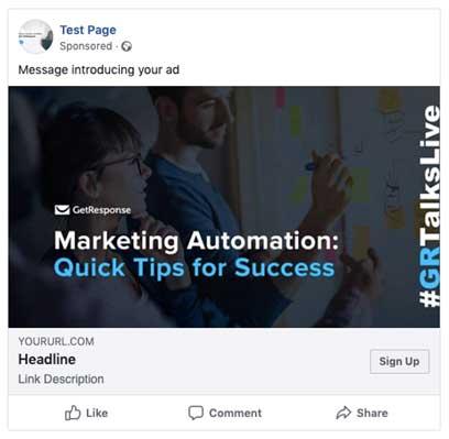 пример рекламы в Фейсбук, созданной на платформе ГетРеспонс, с описанием компонентов