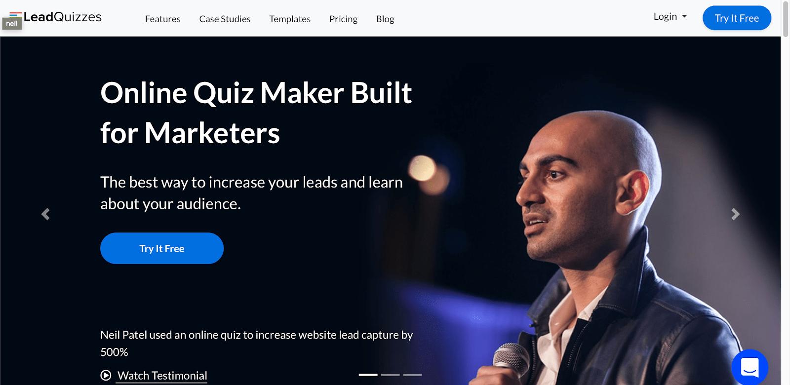 Сайт компании LeadQuizzes и профиль мужчины в черной куртке