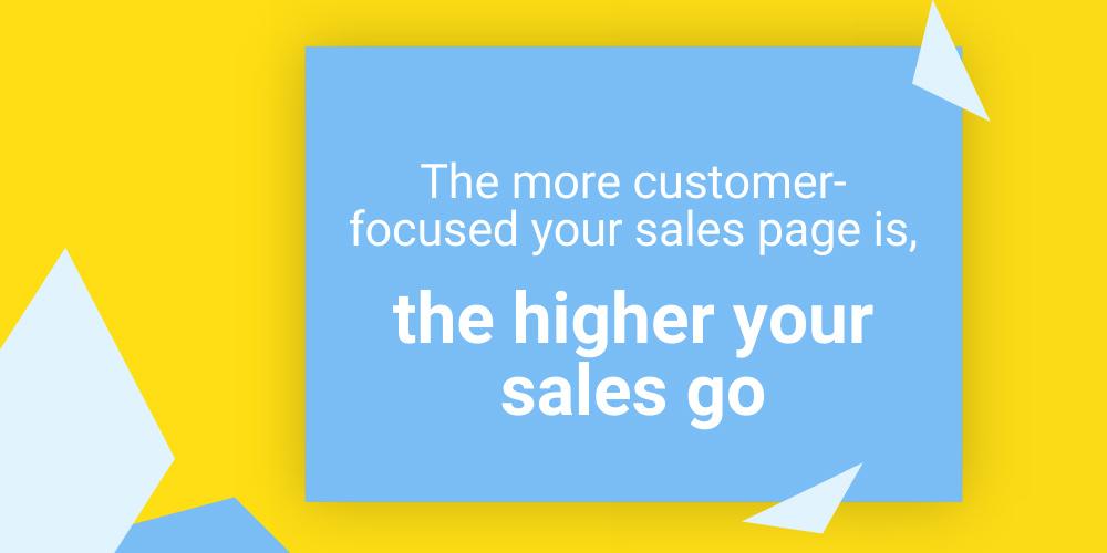 синий баннер на желтом фоне с тезисом об успешности продающей страницы