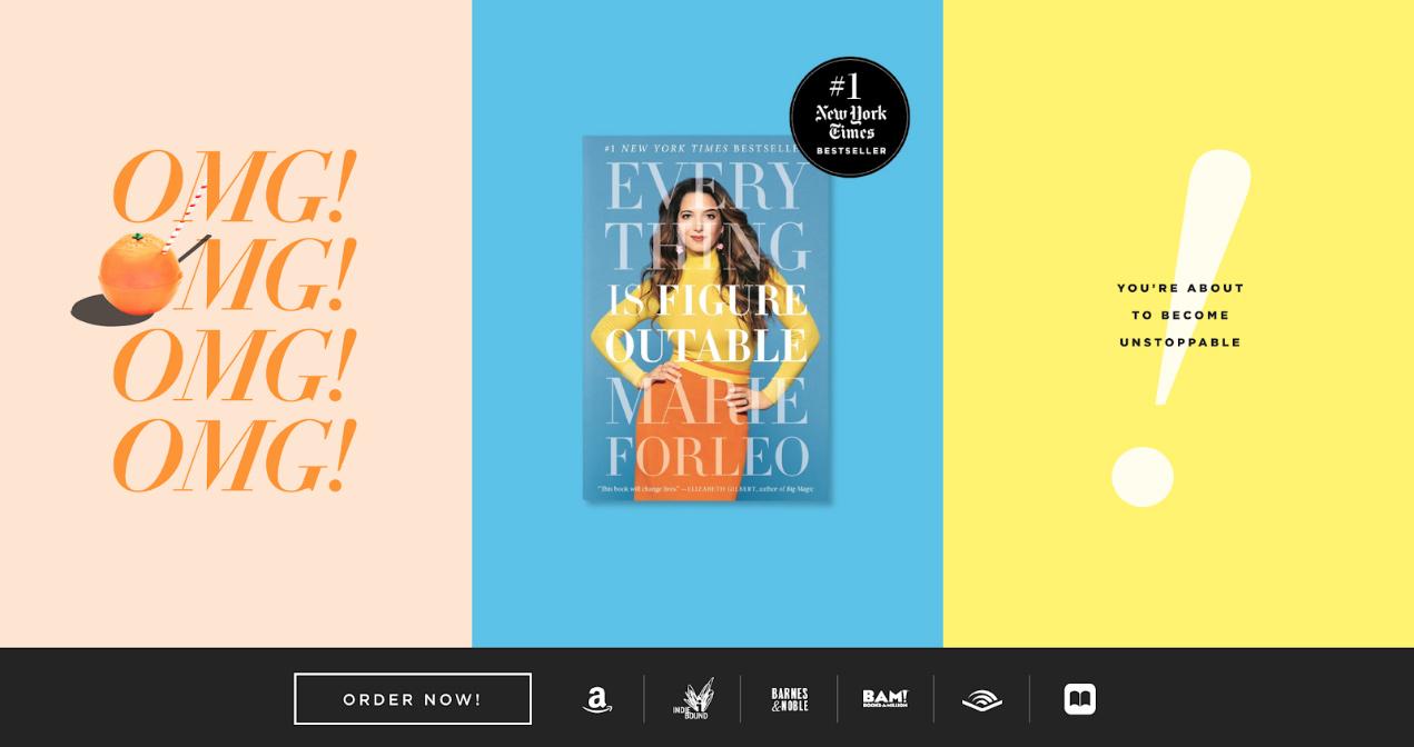 продающая страница Everything is Figureoutable на цветном фоне с картинкой женщины в середине