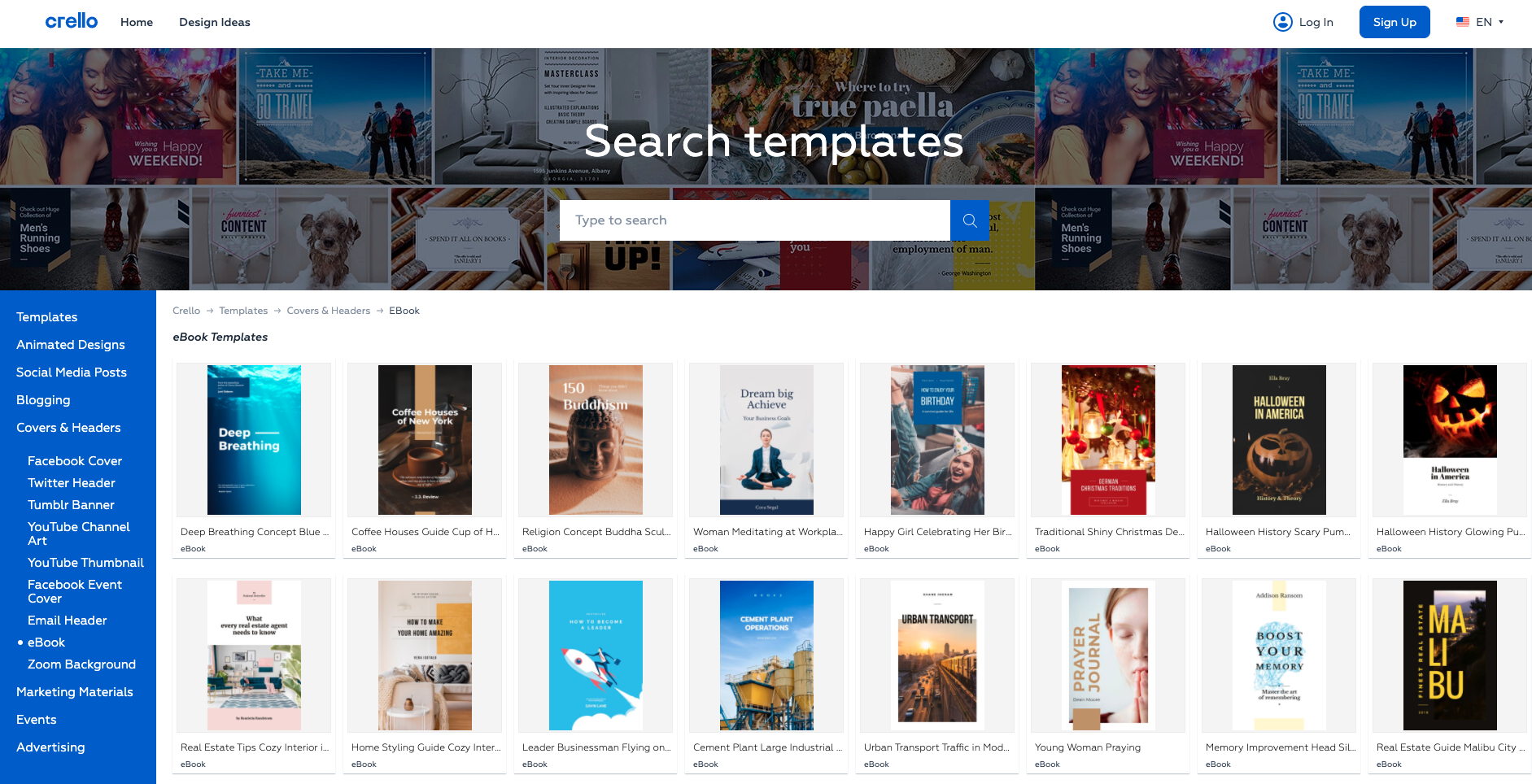 Crello – online image editor for online books and more.