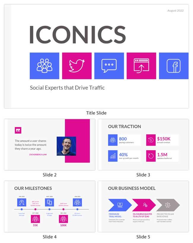 Бизнес презентация шаблон с правильно подобранными контрастными графическими элементами