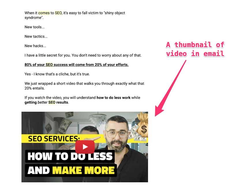 Миниатюра видео ролика размещенного на Ютуб в емейл письме
