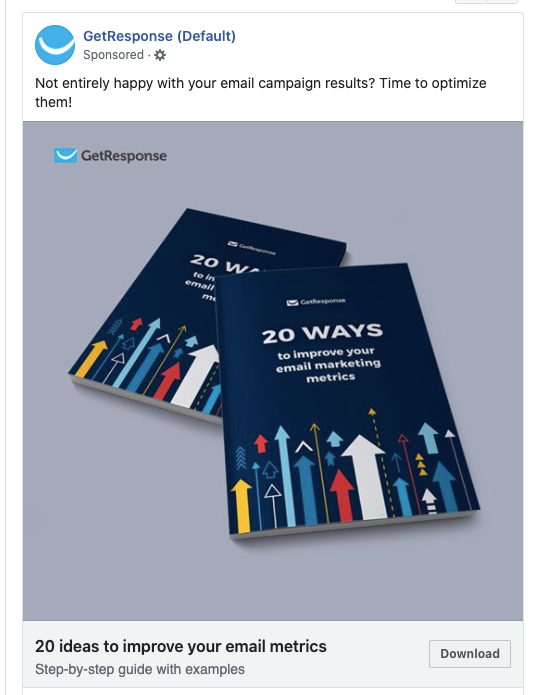 Example of a lead ad campaign run by GetResponse on Facebook.