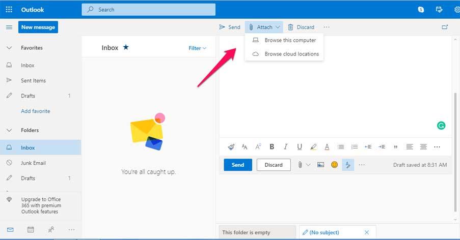 инструкции как прикрепитьвидео в письмо Outlookв виде вложения