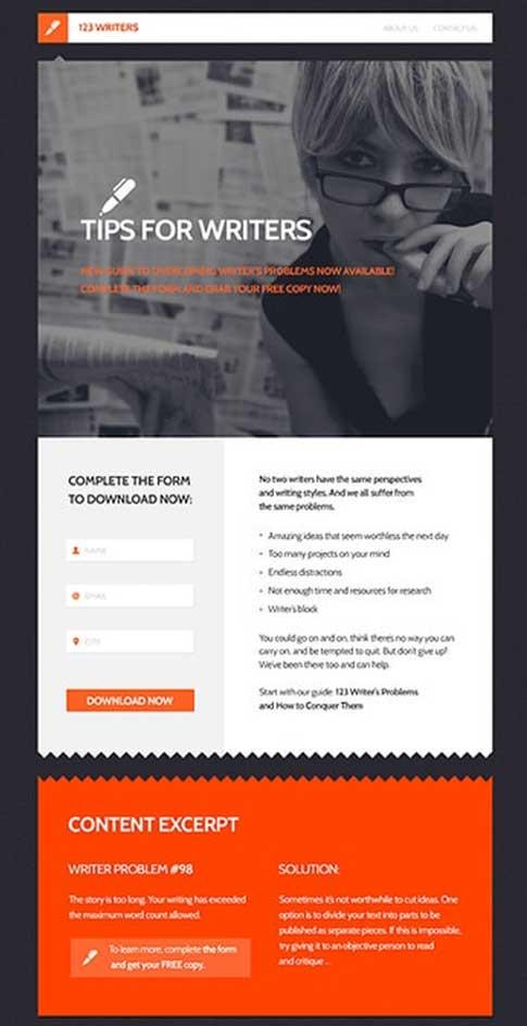пример лендинга с формой подписки и контентом с регистрацией для закачки электронной книги из коллекции GetResponse