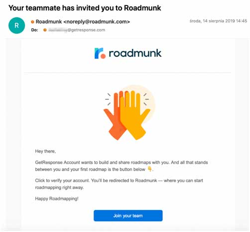 письмо-приглашение от Roadmunk