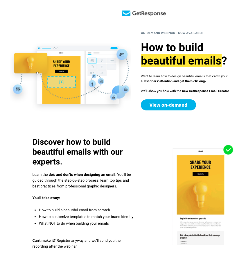 Example of a webinar landing page that GetResponse hosted on building beautiful emails.