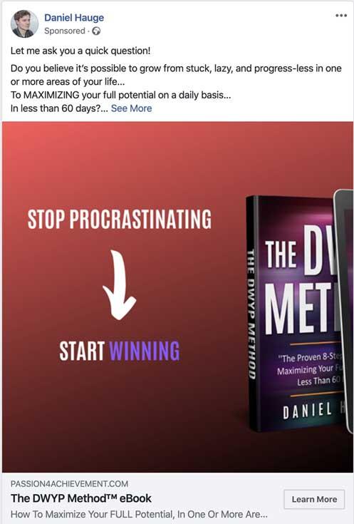 пример рекламы для лида в Facebook рекламирующий бесплатную электронную книгу