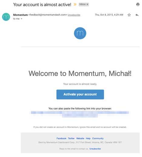 письмо подтверждение от Momentum