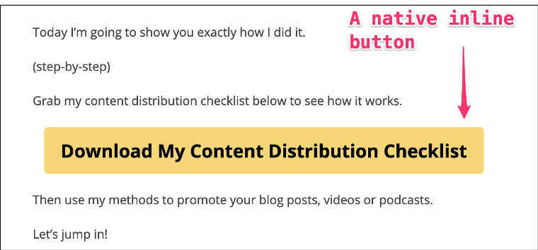 Image showing an inline button used to generate email signups on a blog.