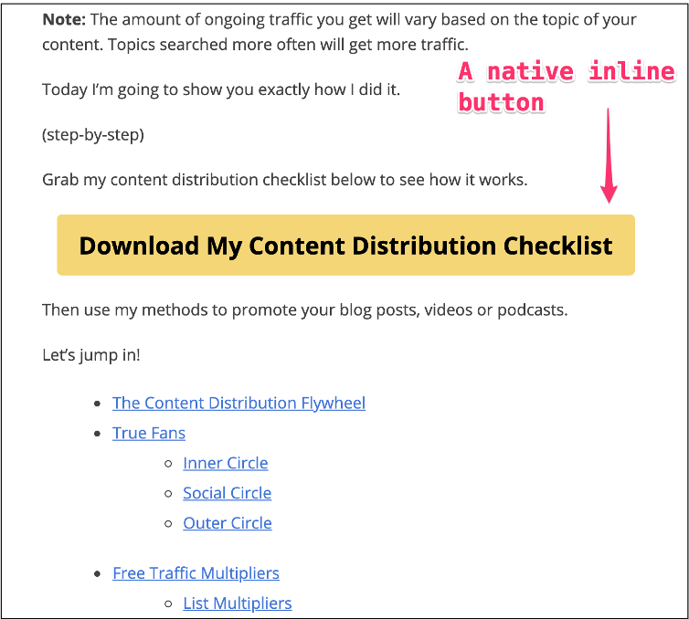 Image showing an inline form button used in an article to capture new email addresses.