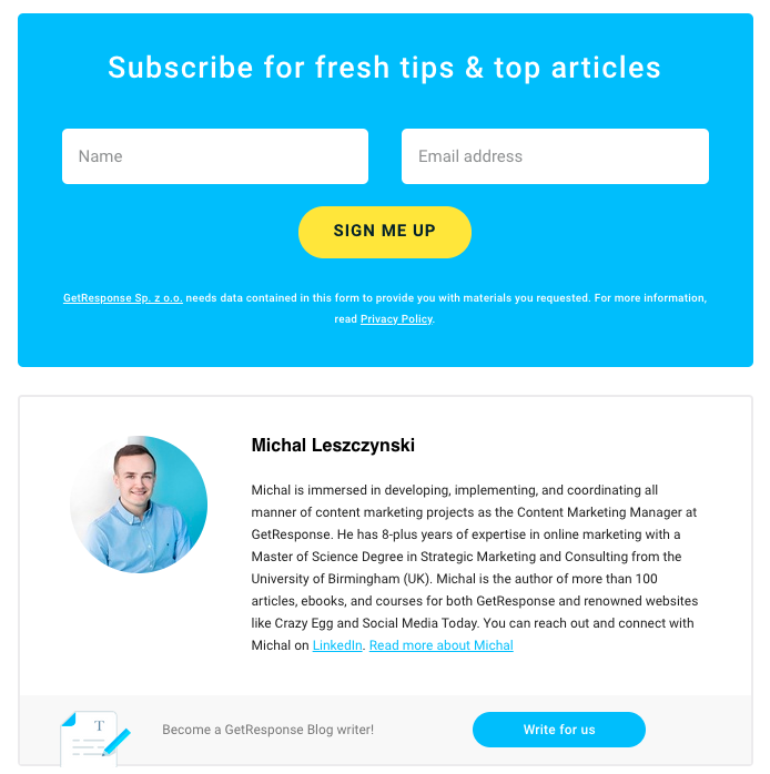 Example of a standard inline form that's visible on every page of the blog. Note its content is not directly related to the content of the page.