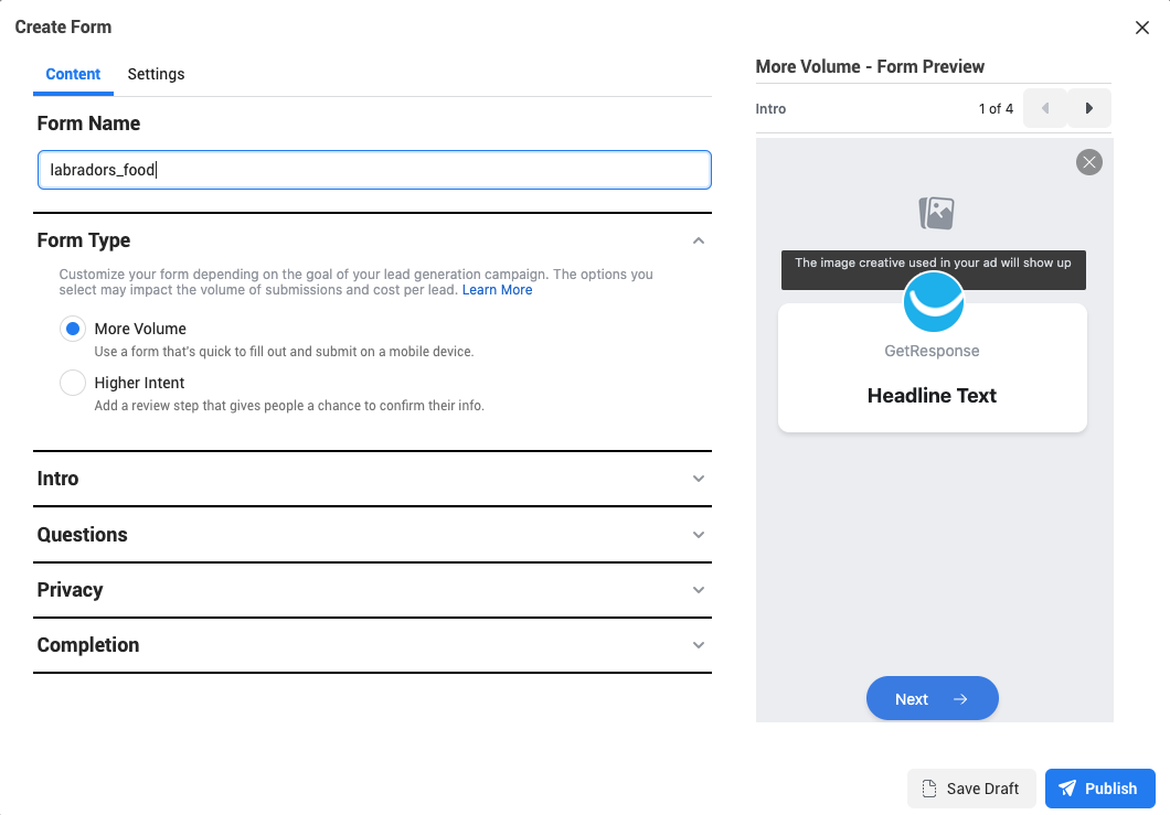 Creating lead form in Facebook Lead ads.