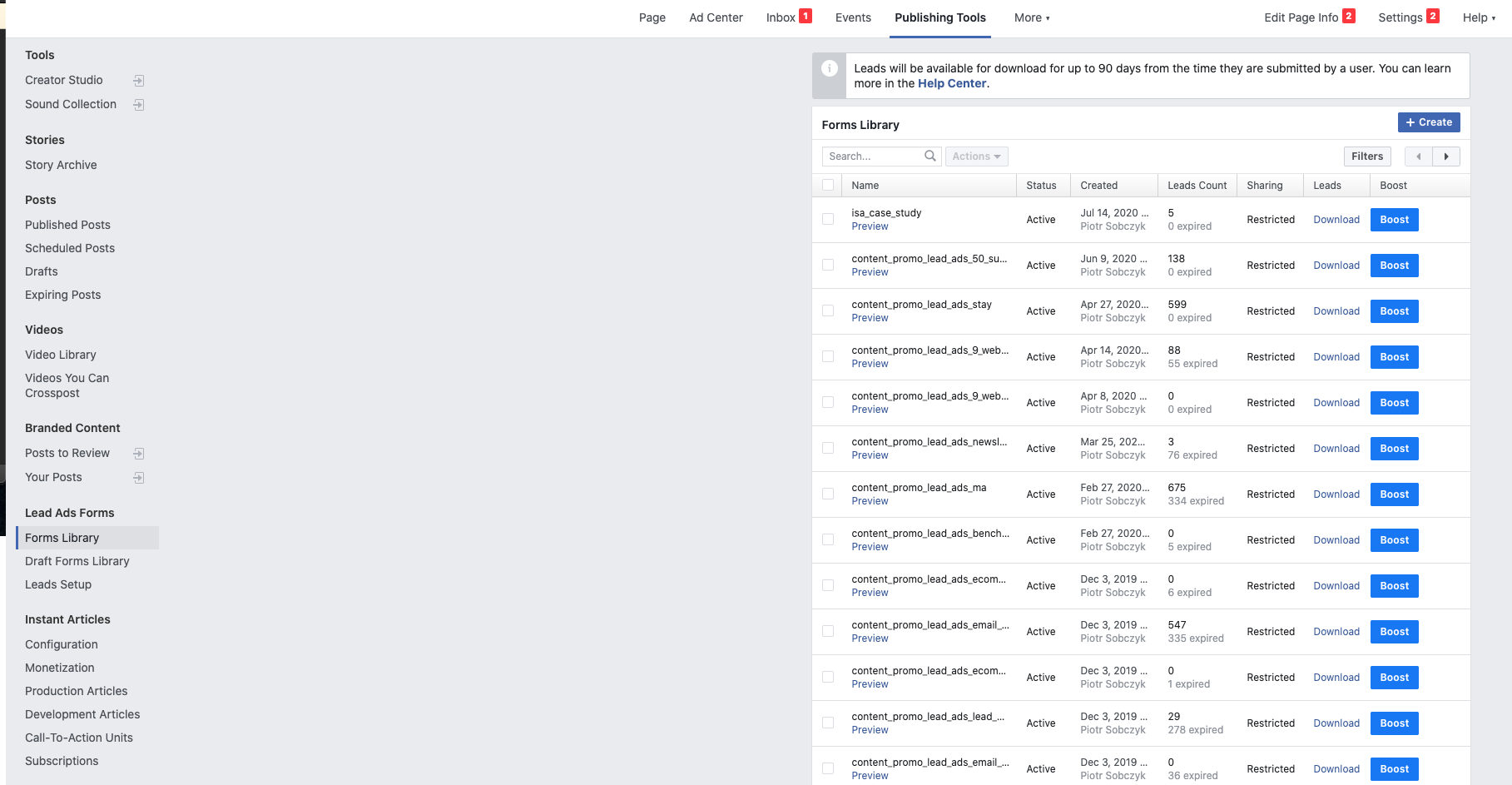 Image showing the Facebook publishing tools where you'll find the option to export your new leads so that you can later import them into GetResponse.