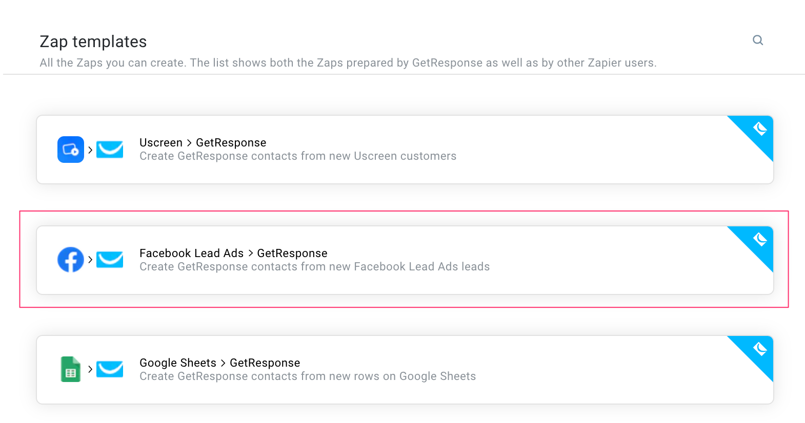 Image showing Zap templates inside of GetResponse and highlighting the Facebook Leads ads and GetResponse automation.