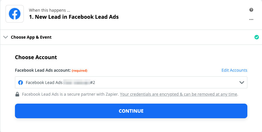 Choosing your Facebook Lead Ads account.