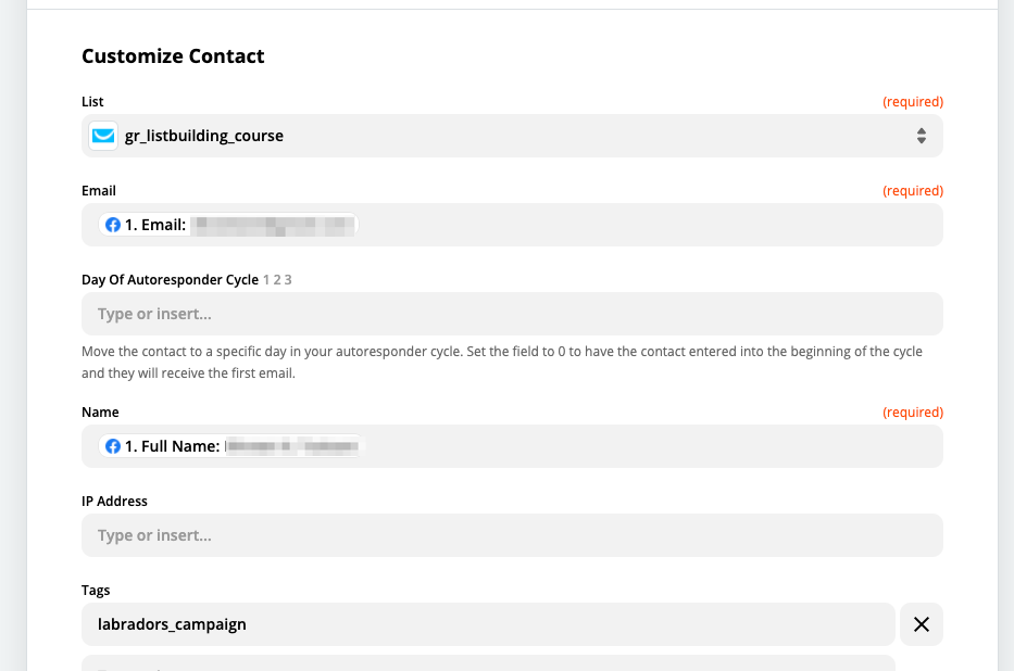 Customizing the contact that'll be sent to GetResponse via Zapier.