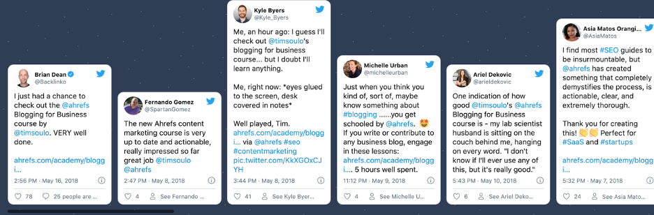 Testimonials from Ahrefs Blogging for Business course signup page.