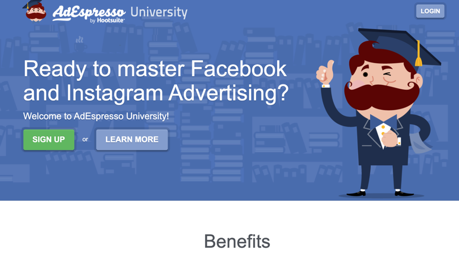 Sales page example that targets a very specific audience – people willing to master Facebook and Instagram ads.