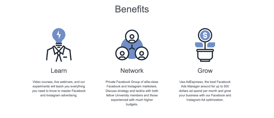 Key benefits of the offer made on the sales page – learn, network, and grow.