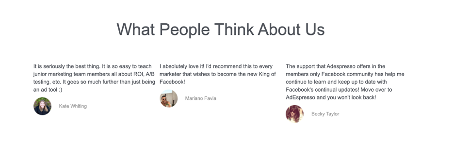 Part of the sales page that shows testimonials from the happy customers who've finished the Facebook ads course.