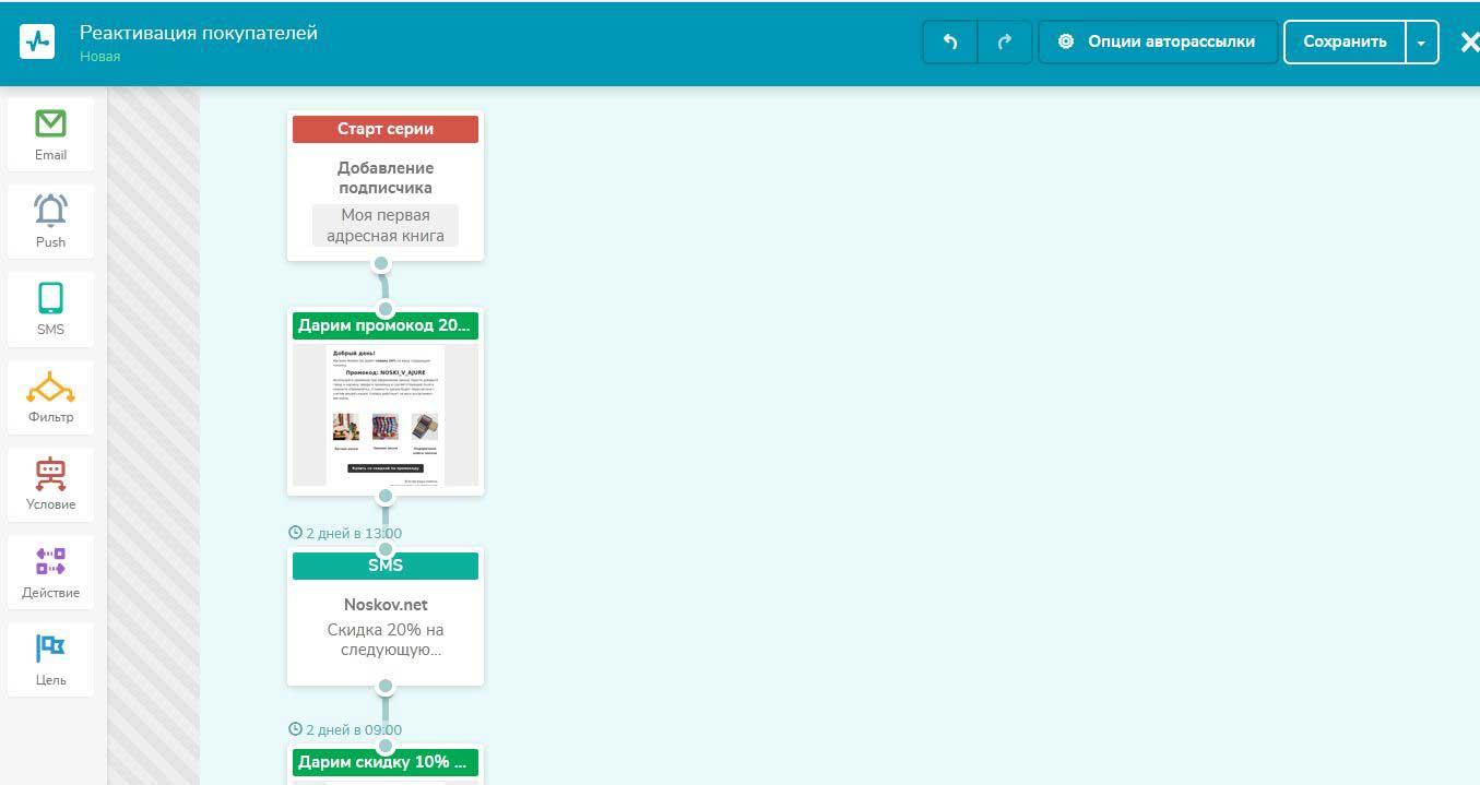 блочный редактор автоматизации в SendPulse