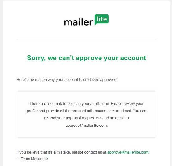 сообщение об отказе в регистрации MailerLite