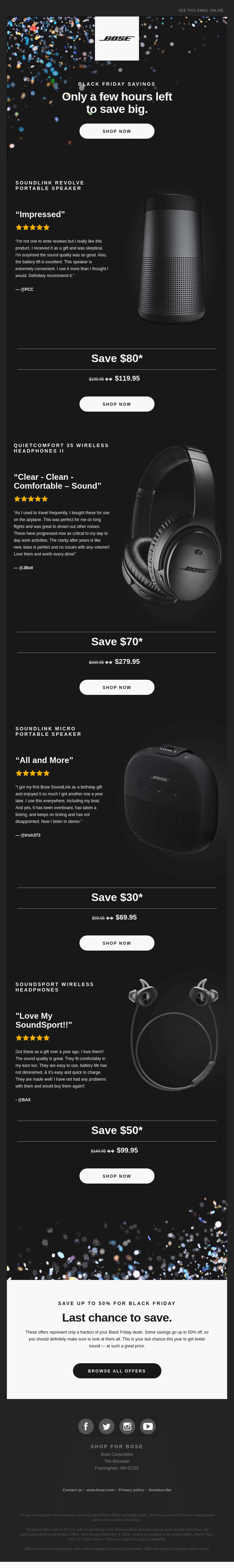 Black Friday email with reviews from Bose.