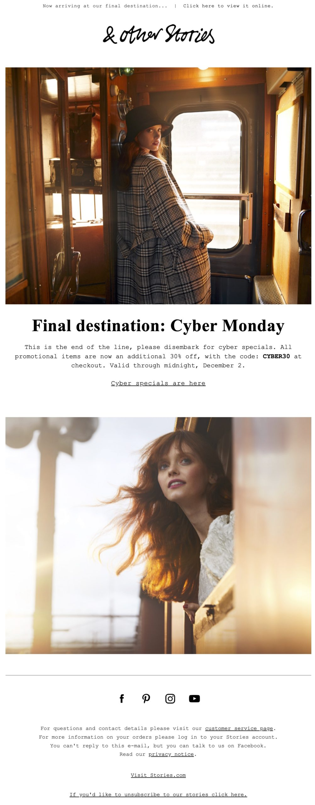Example of a simple Cyber Monday email from & Other Stories.