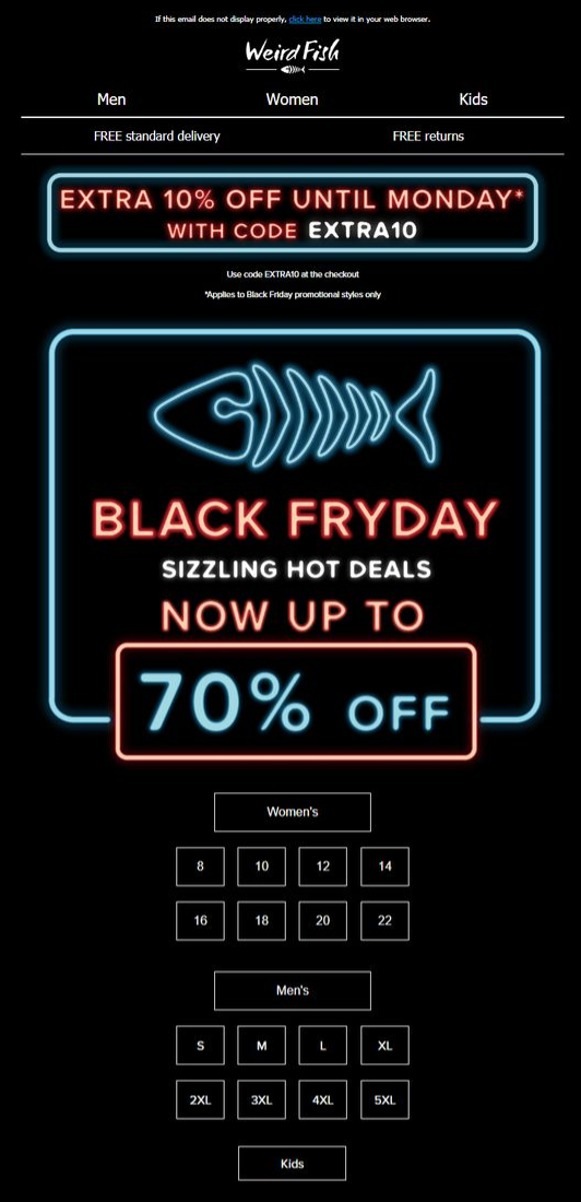 A pun-based Black Friday email from Weird Fish.