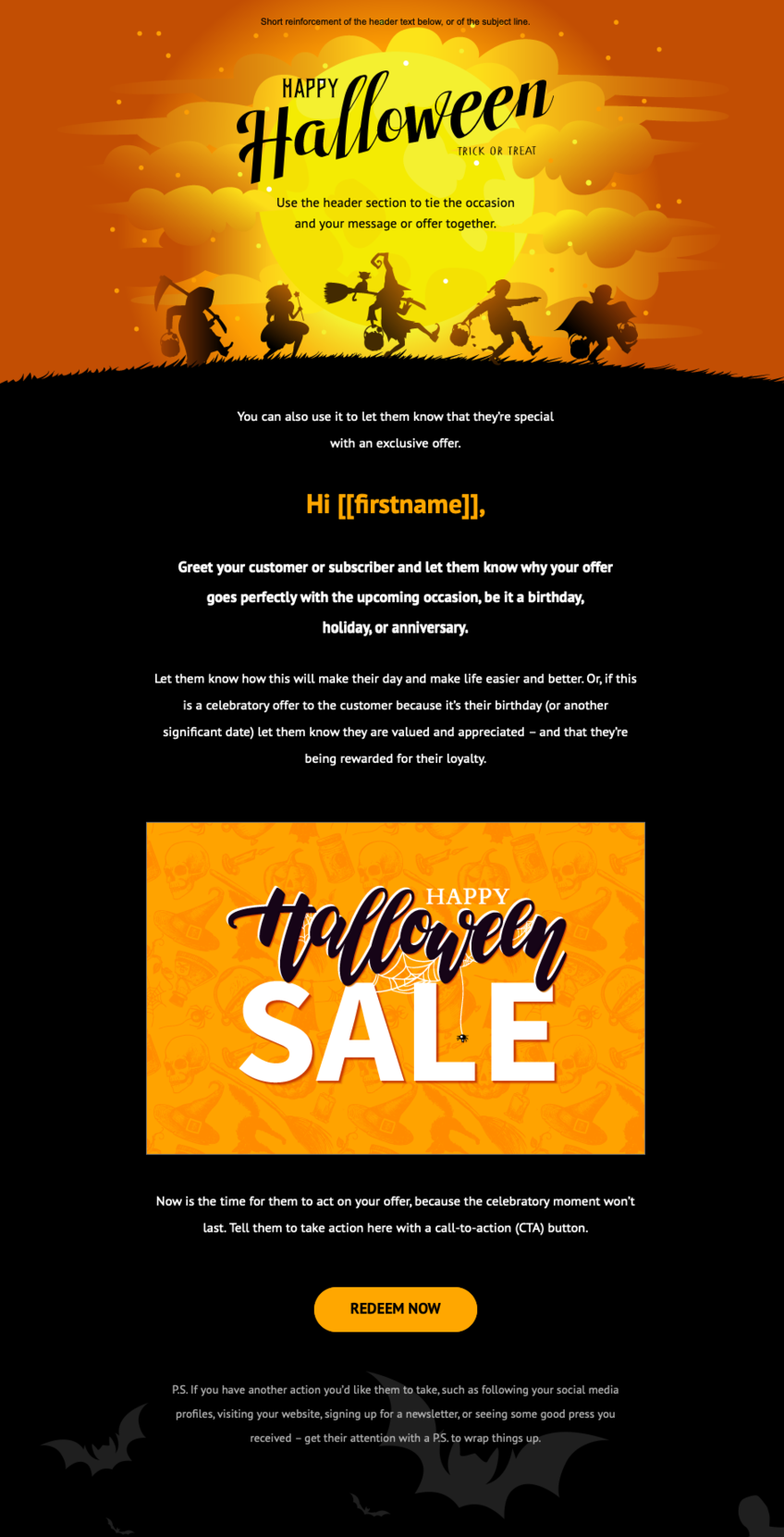 Free halloween email template available in the new GetResponse Email Creator. It features a bold themed banner, halloween color scheme, and a strong call to action button.