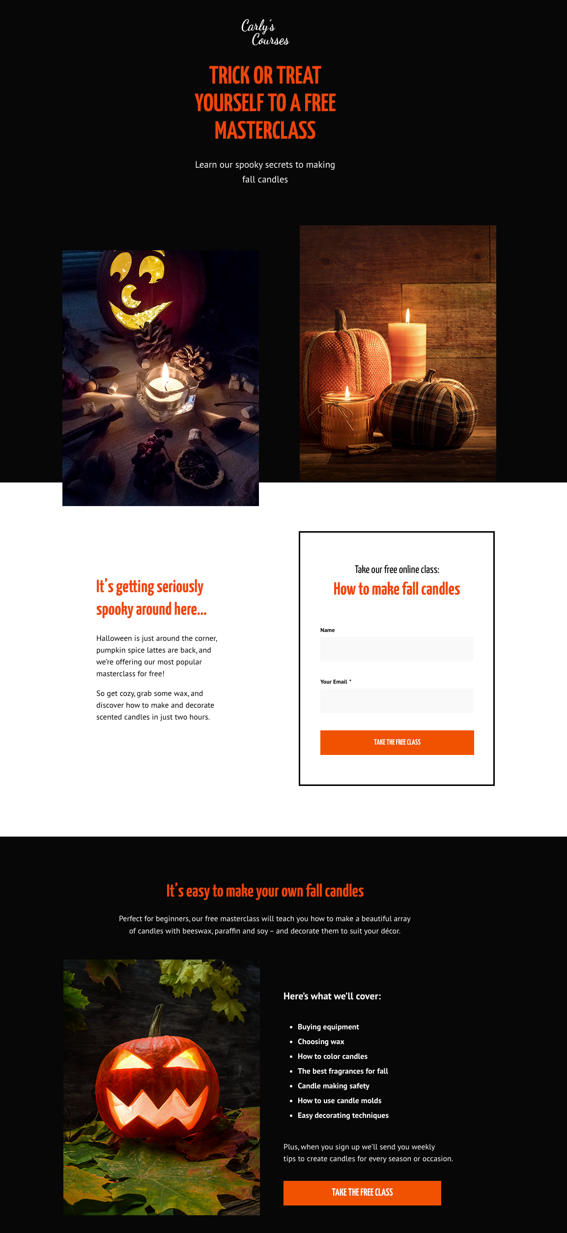 Halloween landing page template that's perfect for a lead generation campaign. It features a strong headline, high-quality images revolving around the holiday, a signup form built for high conversions and additional sections where you can place your unique selling points, benefits, and testimonials.