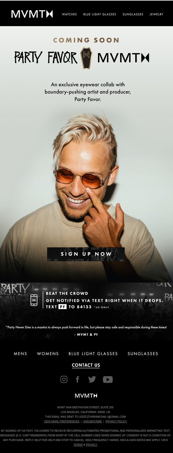 MVMT product launch email announcing their collaboration with Party Favor.
