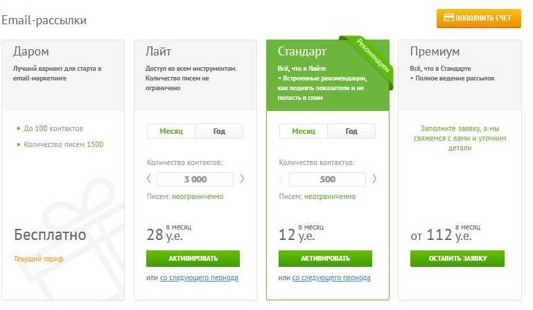 страница с тарифами сервиса бесплатных email рассылок Unisender