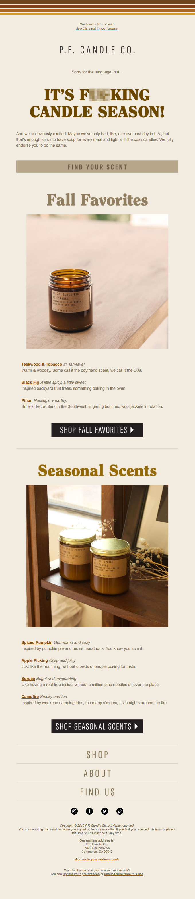 Announcing new candle scents through email.