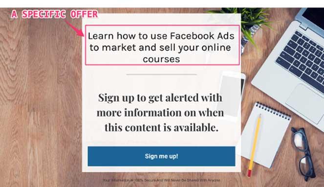 пример лендинга, посвященного курсу по рекламе в Facebook