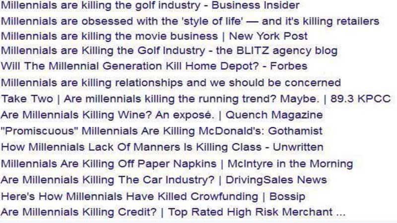 список отраслей и явлений, уничтоженных миллениалами