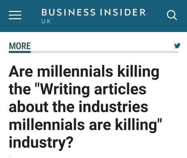 заголовок в газете о том, что миллениалы убивают индустрии