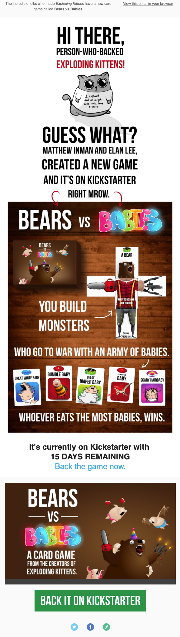 New game announcement email from the Oatmeal.