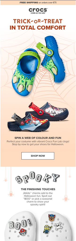 Themed halloween newsletter from Crocs with a clever, rhymic halloween subject line.