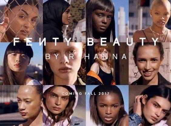 множество женских лиц разного цвета кожи, на переднем плане название бренда