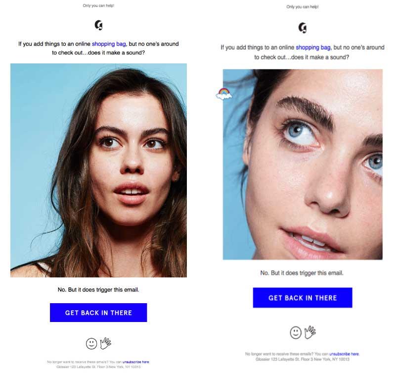 рассылка Glossier с изображением лица девушки в разных ракурсах крупным планом