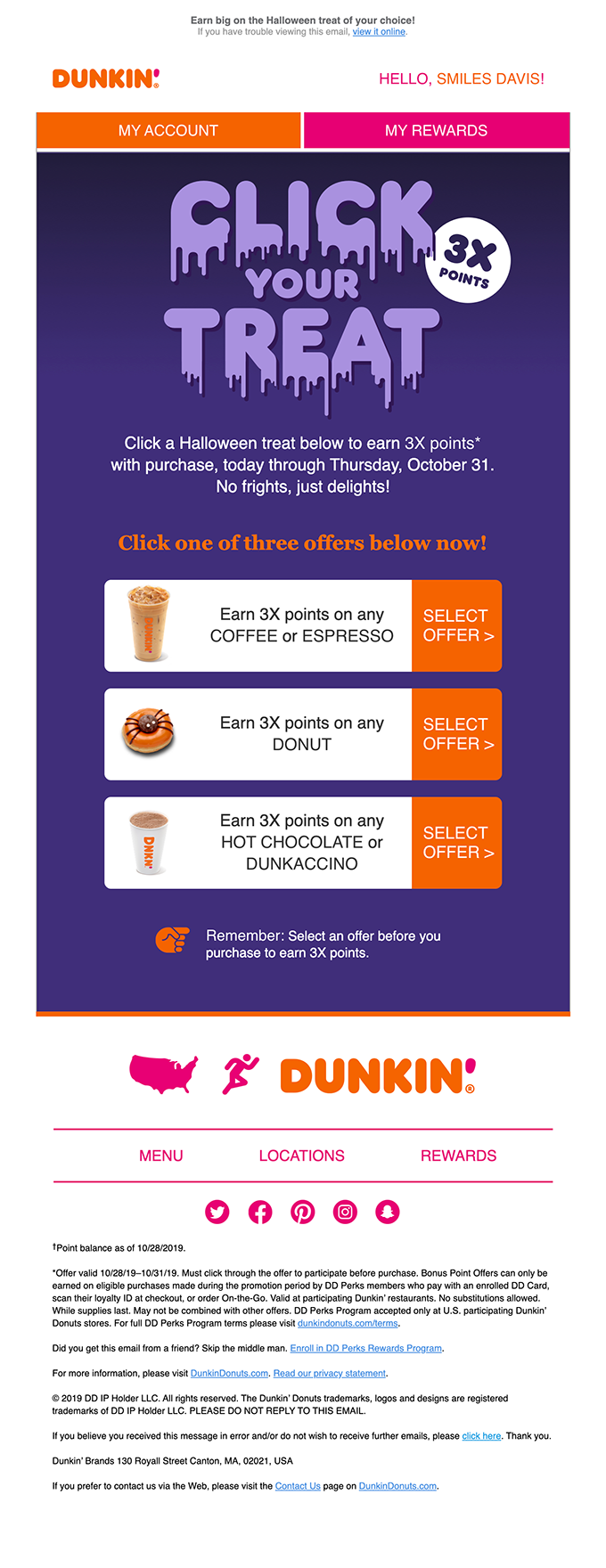 Dunkin' Donuts halloween newsletter featuring a 3x points offer for their loyalty card members.