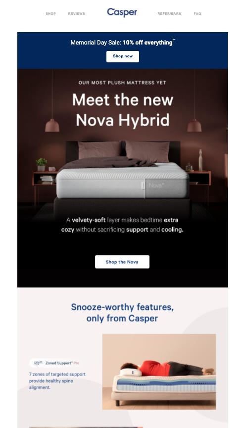 Casper new product launch email announcing their nova hybrid mattress.