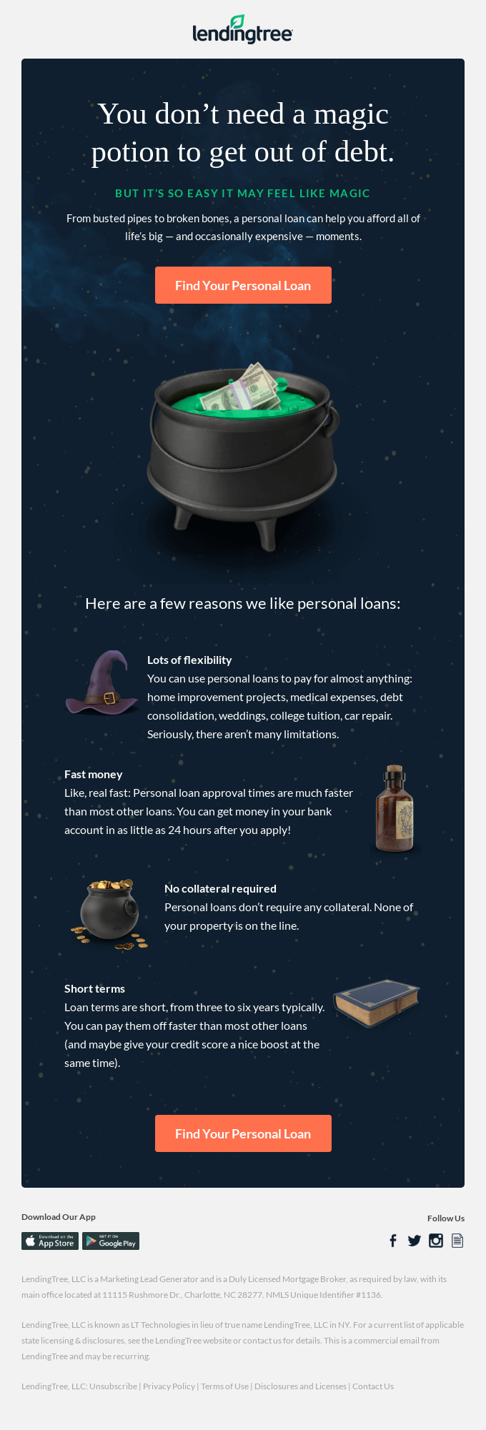 Halloween email offer from Lendingtree.